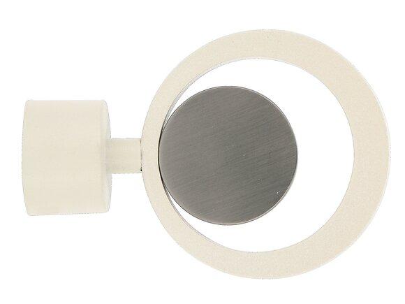 Embout tringle à rideaux, cercle mix diamètre 28mm nacre/chrome