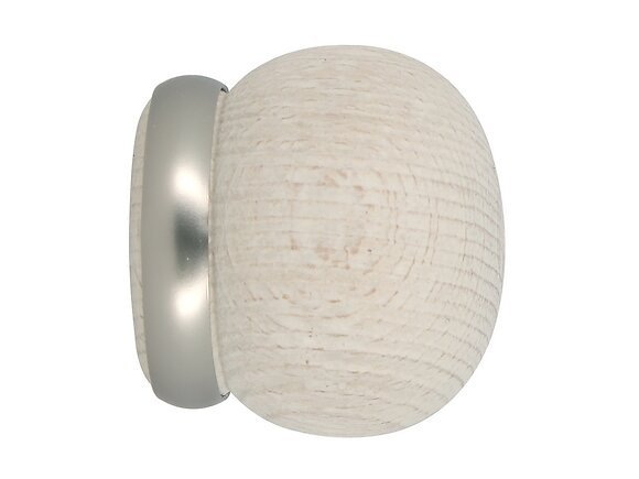 2 embouts tringle à rideaux, boule annelée diamètre 28mm bois blanchi