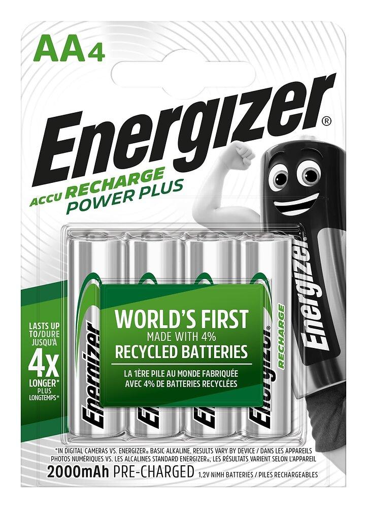 Lot de 4 Piles rechargeables AA/LR6 2000mAh Power Plus