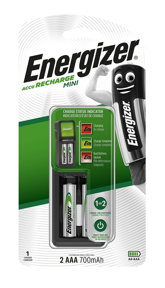 Chargeur Mini Energizer + 2 piles AAA/LR3 incluses