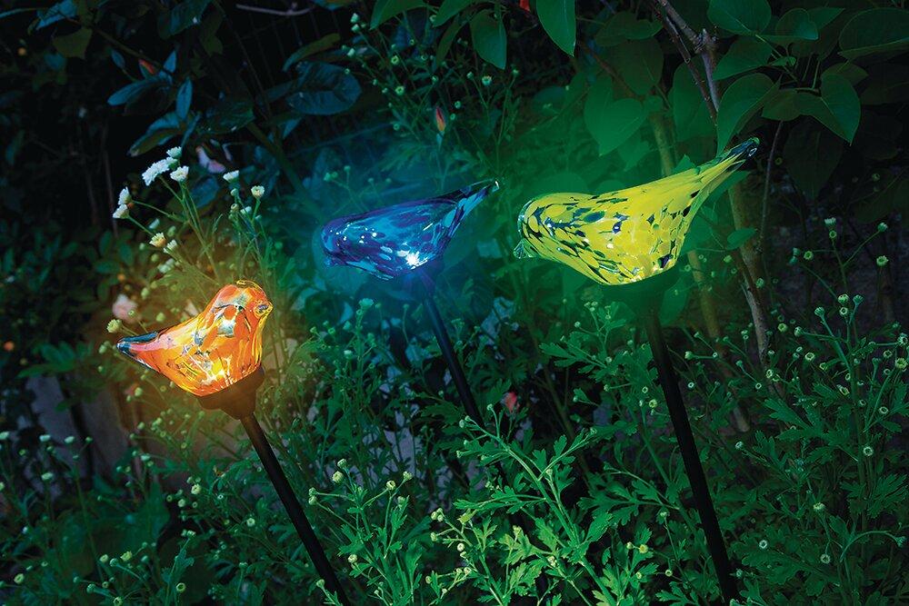 Figurine solaire oiseau en verre coloré Assorties hauteur 76cm