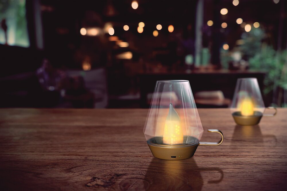 Lanterne solaire or/transparent diamètre 12 x hauteur 14cm