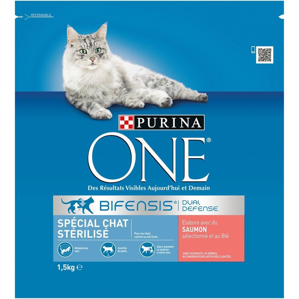 Croquettes chat stérilisé - Saumon et Céréales complètes - 1.5kg