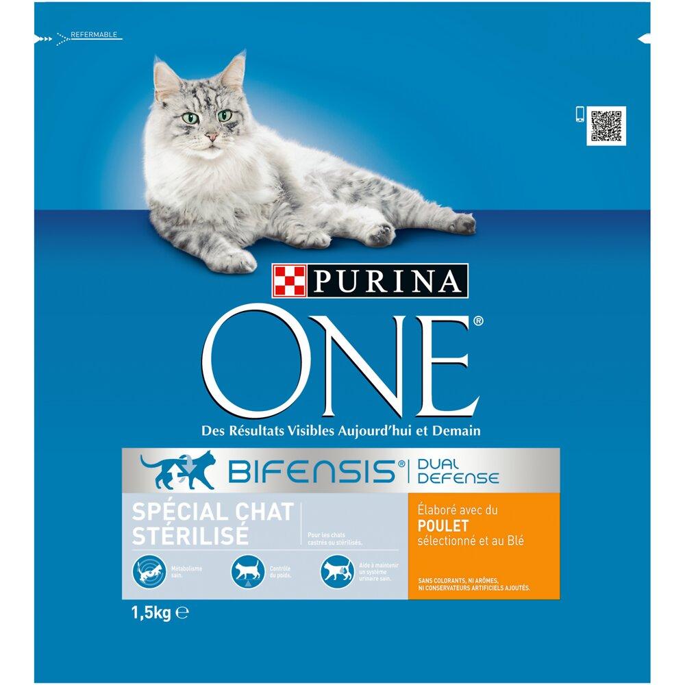 Croquettes chat adulte stérilisé PURINA ONE Poulet et Blé 1,5 kg