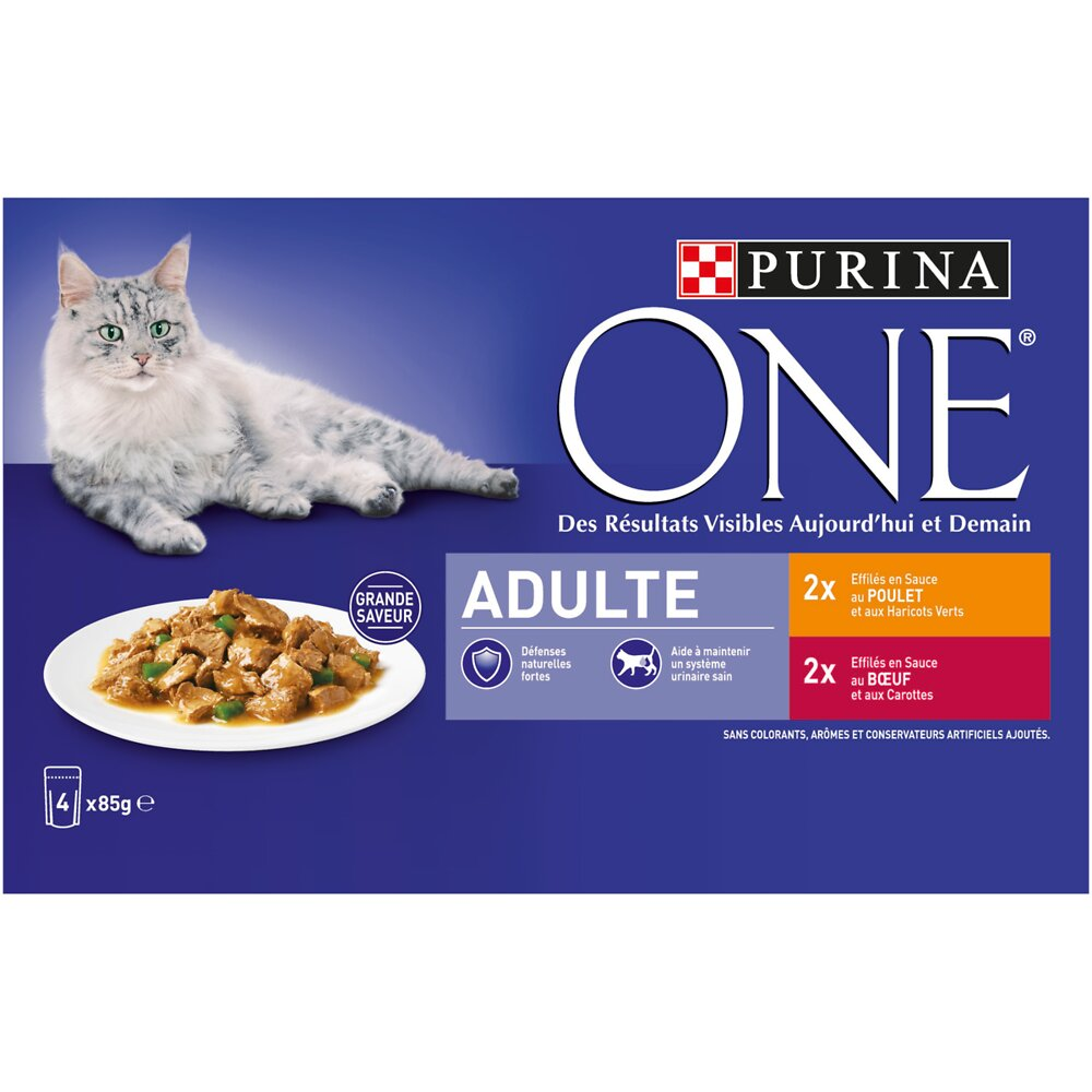 Aliment chat adulte - Poulet-Boeuf - 4x85g