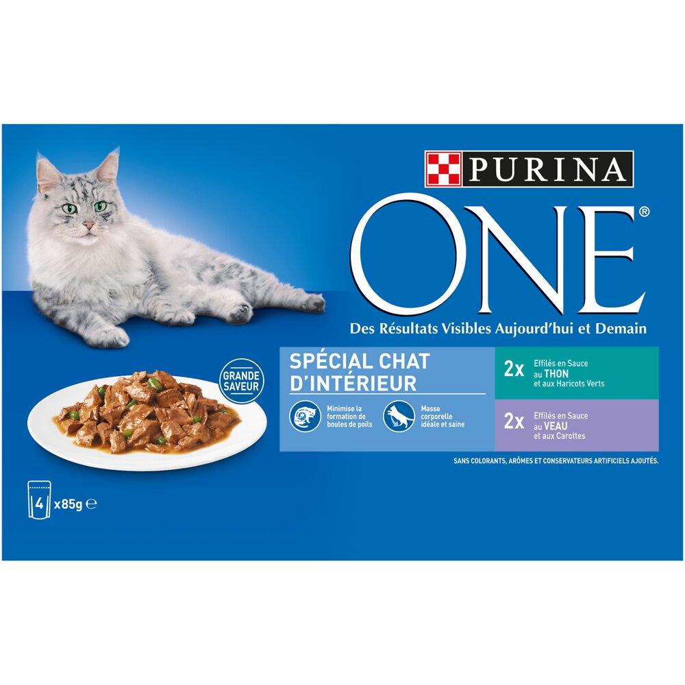 Aliment chat PURINA ONE Spécial chat d'intérieur thon/veau 4 x 85 g