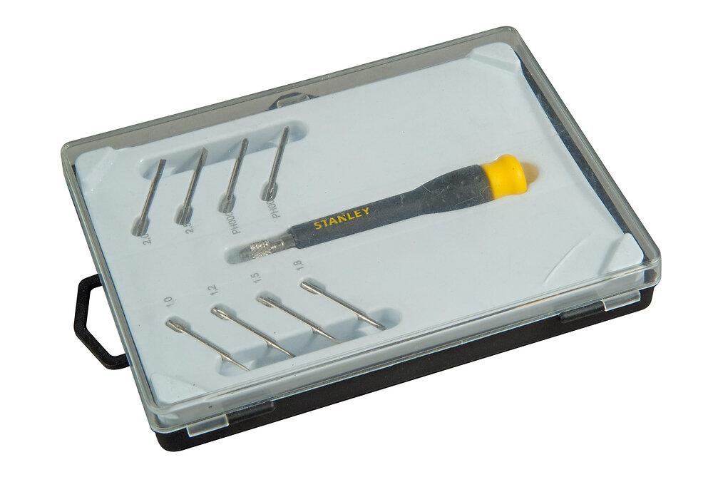 Micro tournevis STANLEY multilames fente + phillips - jeu de 8 pcs