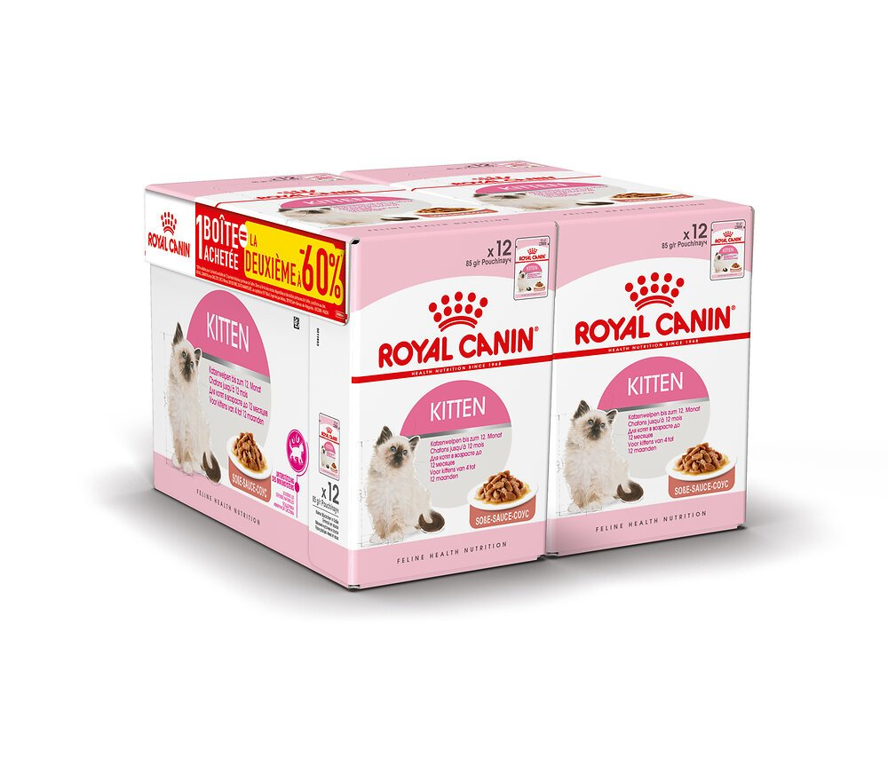 Croquettes chat KITTEN SECOND AGE SAUCE 12x85g 1+1 A-60%