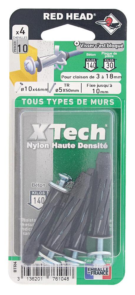 Blister de 4 chevilles Xtech 10x46mm + vis TR 5x50mm