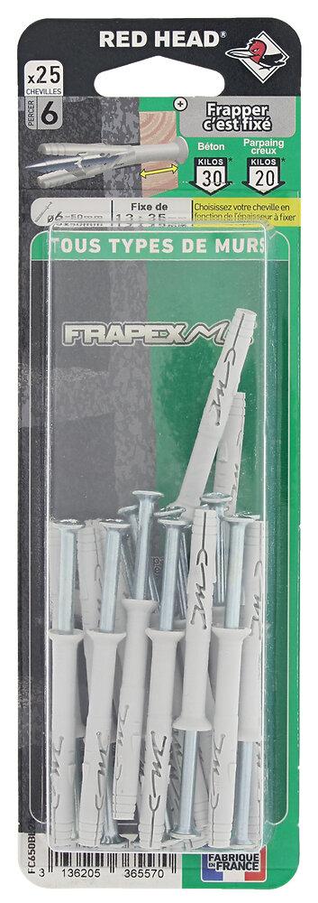 Blister de 25 chevilles Frapex M 6x50mm
