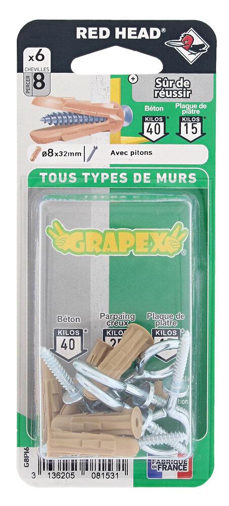 Blister de 8 chevilles Grapex 8x32mm + pitons