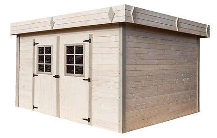 Abri madriers HABRITA bois massif toit plat / 28 mm surface: 16,77 m2