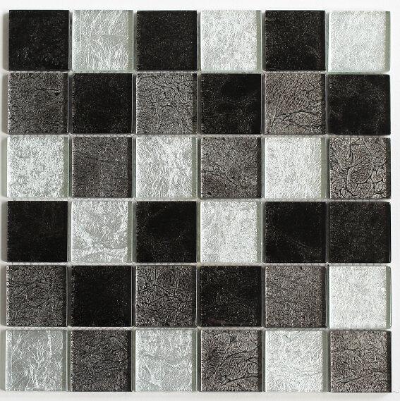 Feuille 300x300 carreaux 50x50x8 verre lisse gris noir