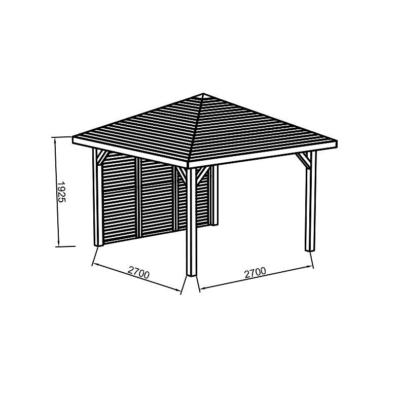 Kiosque en bois 347X347 avec parois