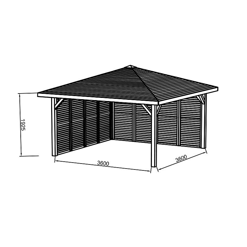 Kiosque en bois 437X437 avec parois