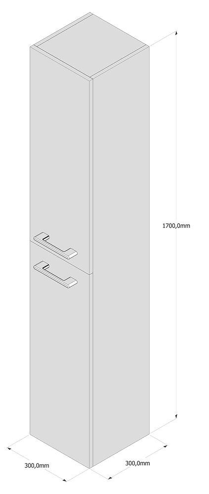 Colonne gris ardoise MDF 2 portes 170x30x30cm