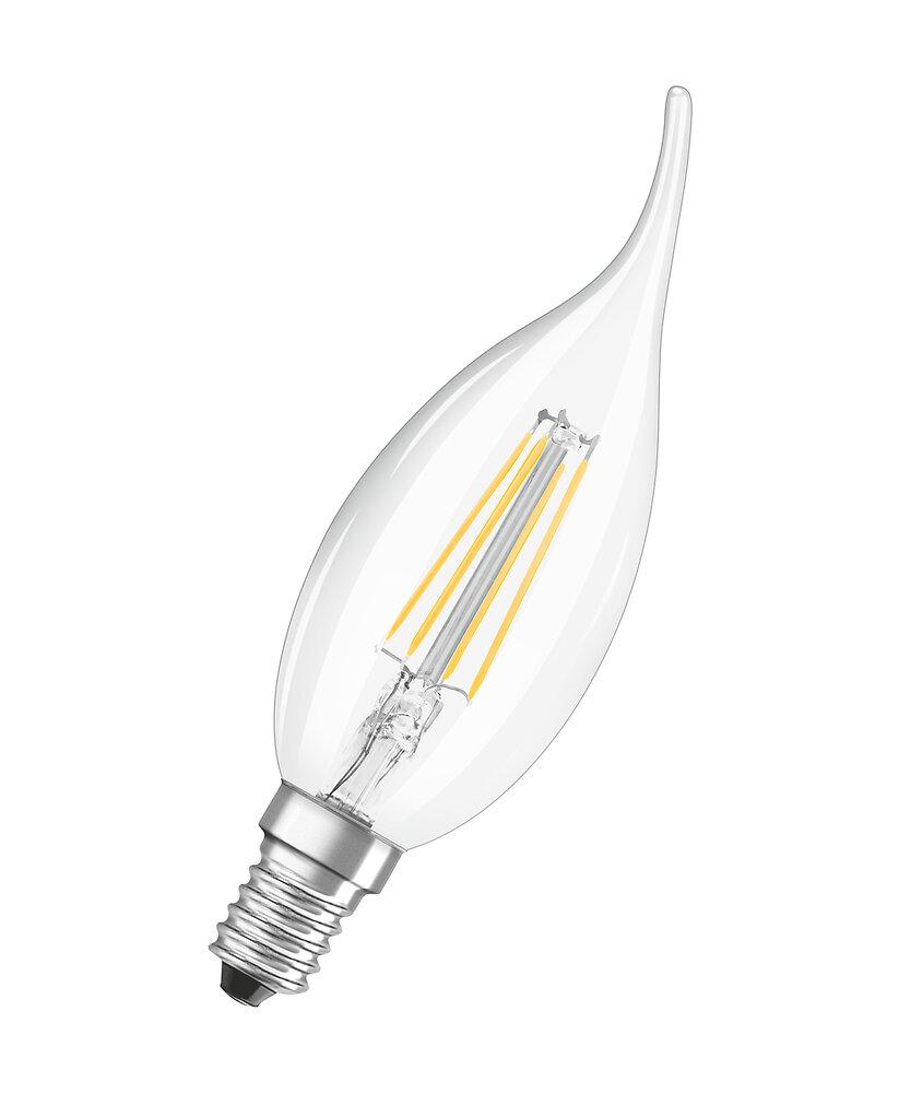 Ampoule led filament flamme coup de vent 4W=40W E14 blanc chaud