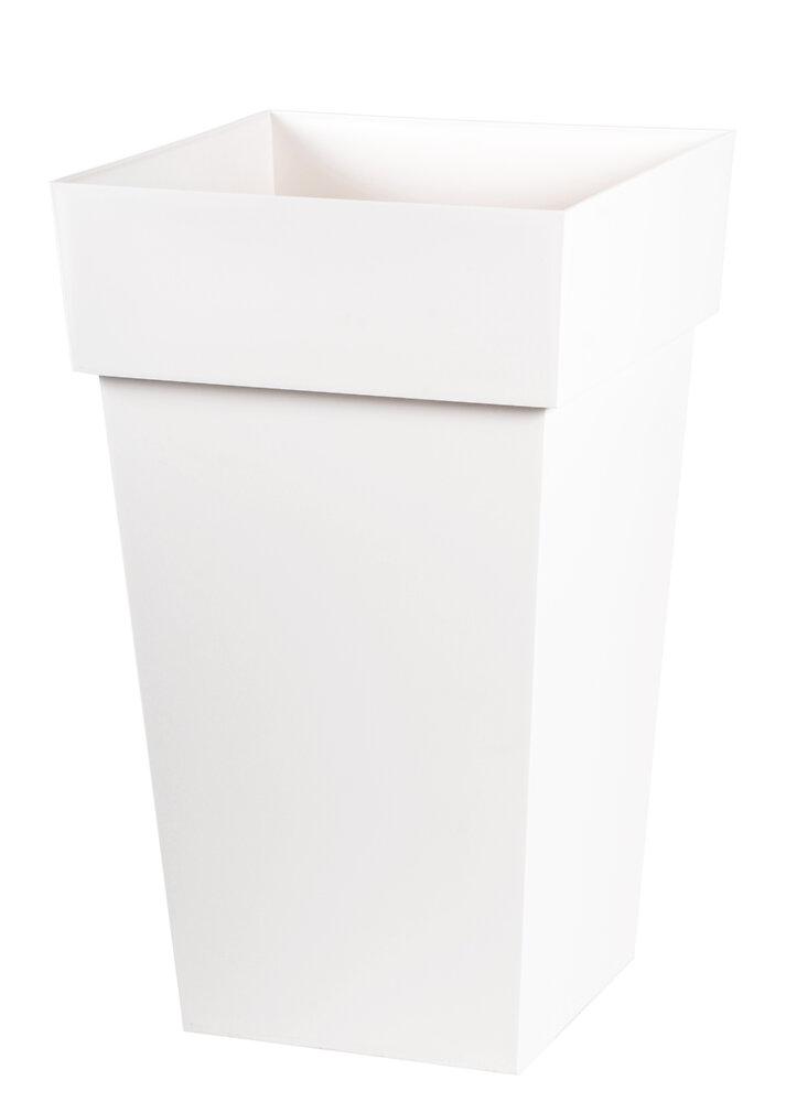 Pot carré haut Toscane 39cm H.65cm 62L blanc
