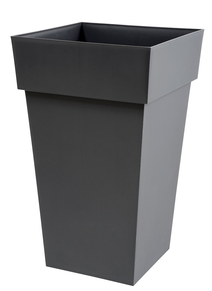 Pot carré haut Toscane 39cm H.65cm 62L gris anthracite