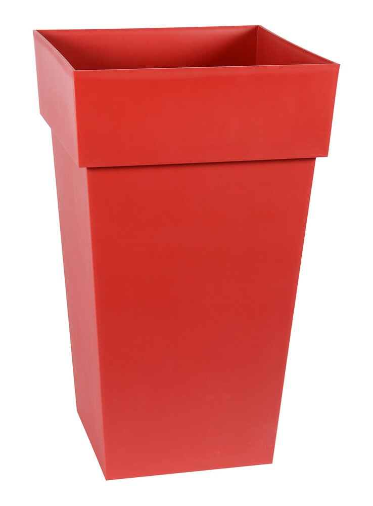 Pot carré haut Toscane 39cm H.65cm 62L rouge rubis