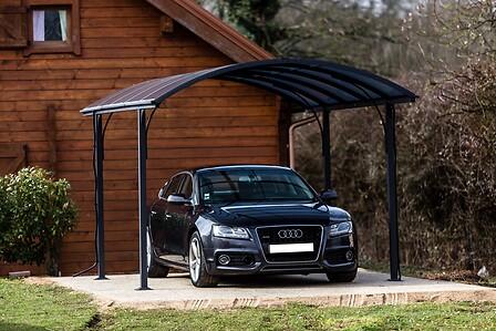 Carport aluminium HABRITA toit 1/2 rond gris anthracite surf: 14,62 m2