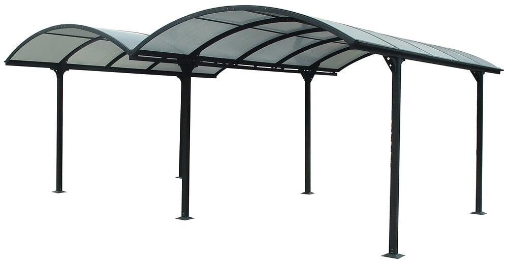 Double carport alu. HABRITA toit 1/2 rond gris anthrac. surf: 28,62 m2
