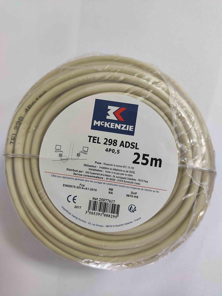 Câble téléphonique/ADSL L.10m - 4 paires type 298 ivoire