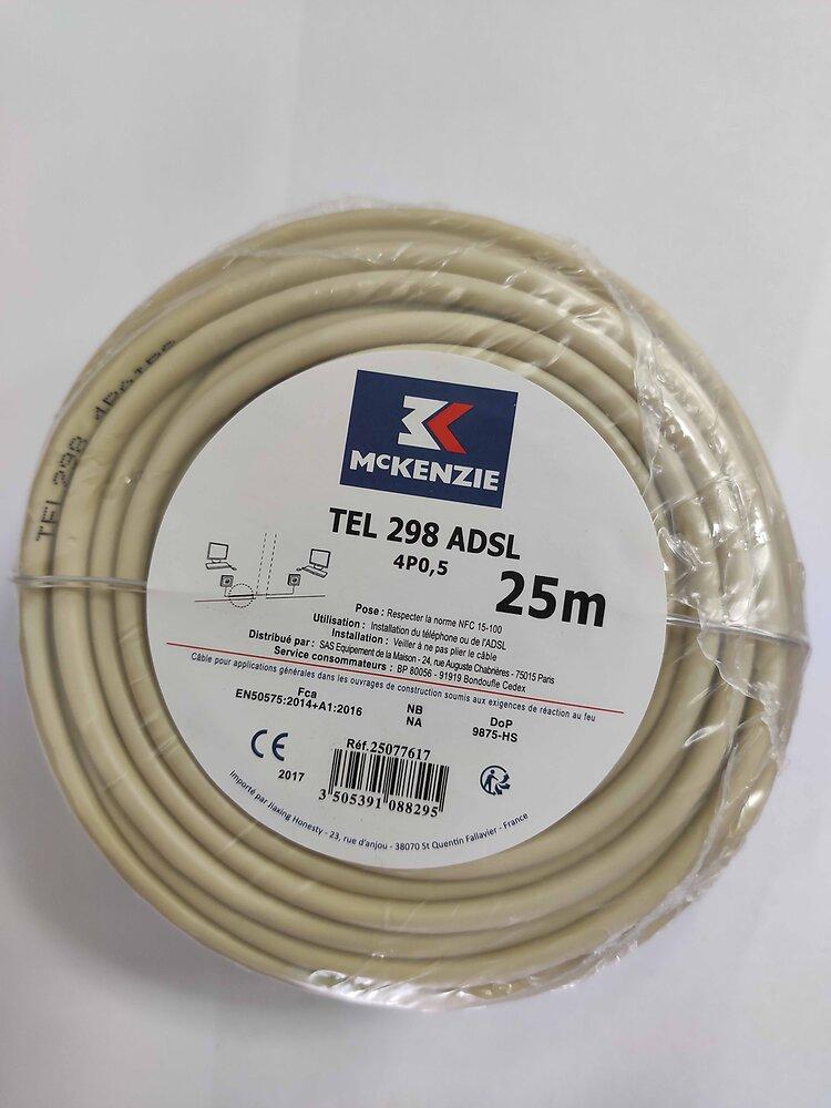 Câble téléphonique/ADSL L.25m - 4 paires type 298 ivoire