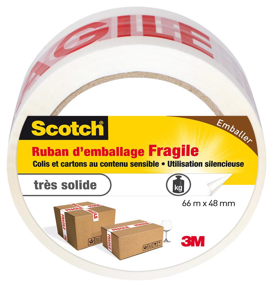 Ruban d'emballage Imprimé ''FRAGILE'' Blanc/Rouge 66mx48mm
