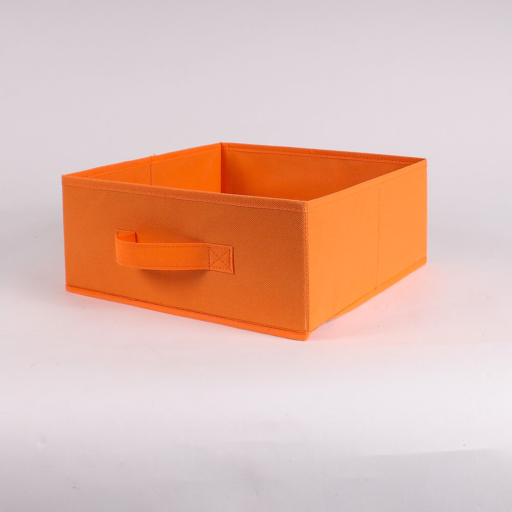 Tiroir pliable intissé orange 28x28x13cm