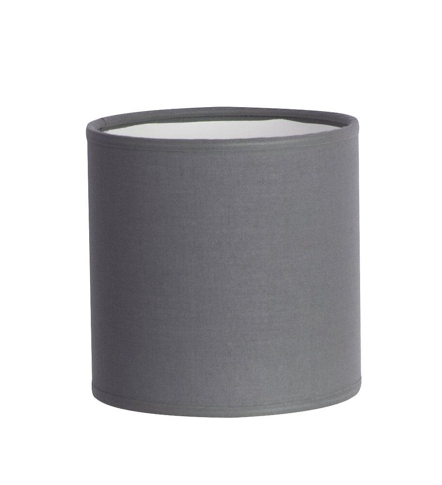 Abat-jour forme cylindre D30 en coton gris ardoise