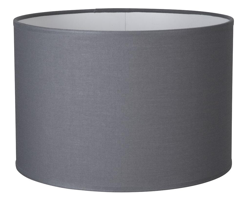 Abat-jour forme cylindre D25 en coton gris ardoise