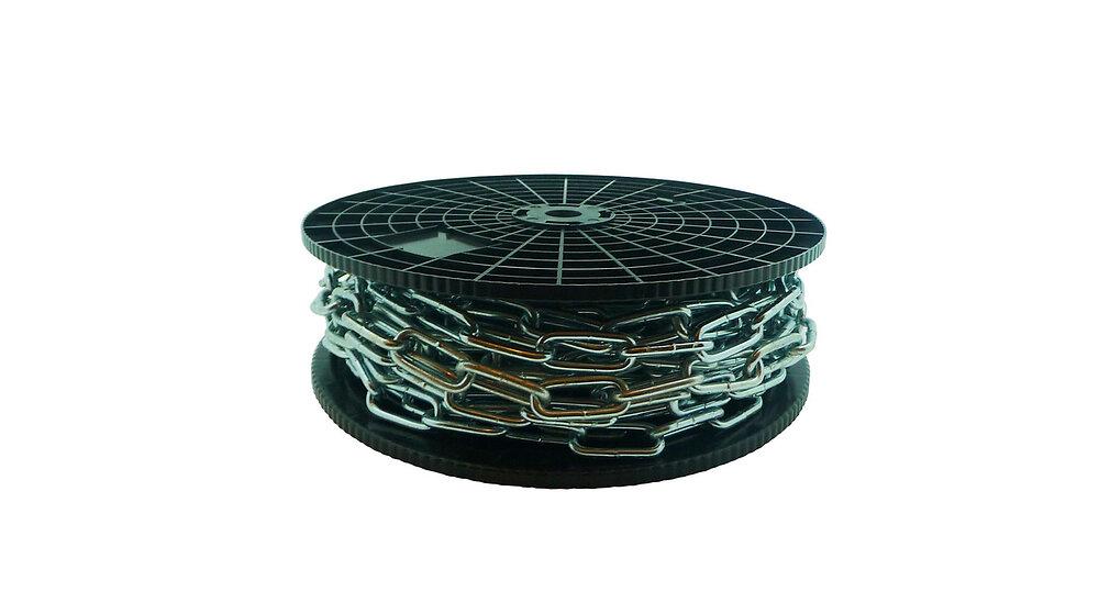 Bobine chaîne droite soudée maillon long - acier zingué -diamètre 6