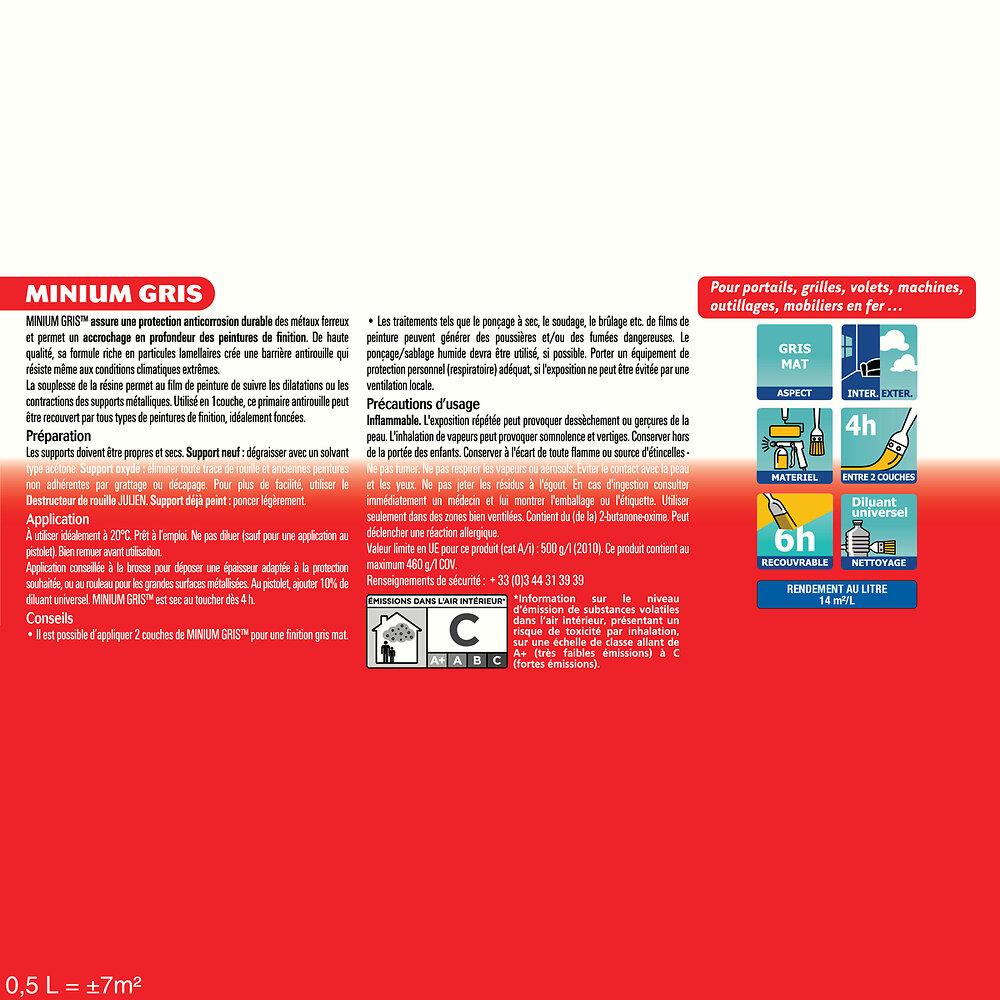 Primaire antirouille blanc MAT Gris Bleuté Mat 0.5L