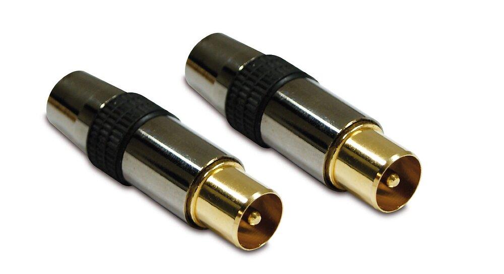 Fiche TV premium -lot de 2- dorée blindée 9.52mm mâle