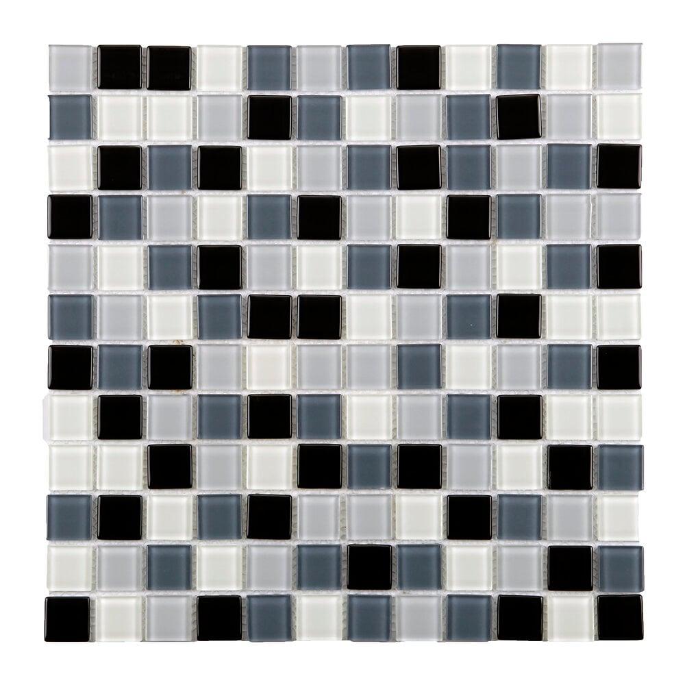 Mosaïque en verre blanc, gris et noir 4mm