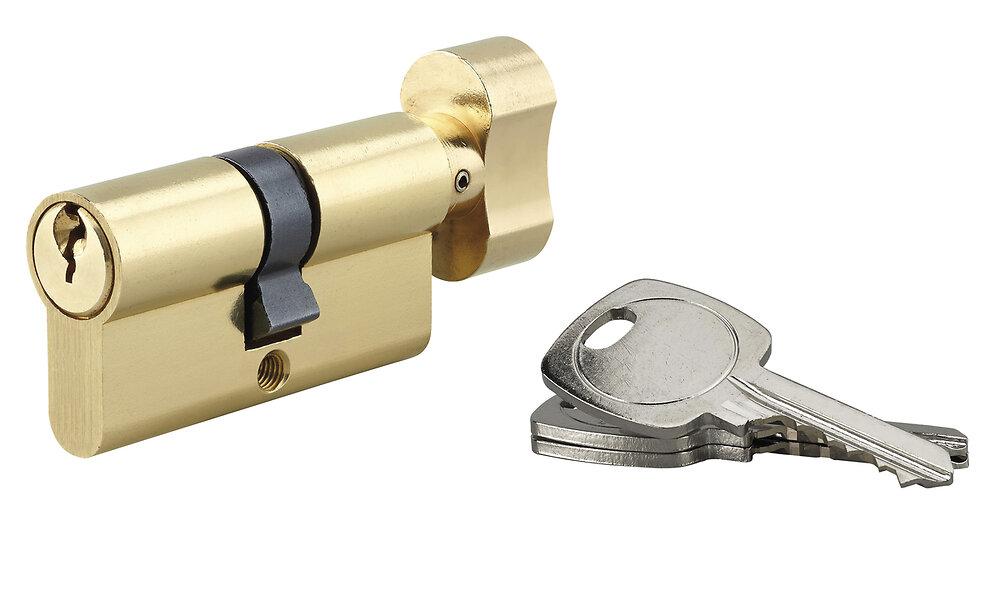 Cylindre profil laiton 5 goupilles à bouton 30x30mm 3 clés