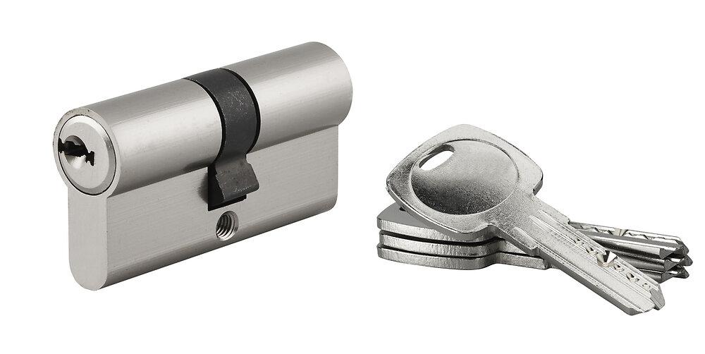 Cylindre profil nickelé 30x30mm 4 clés réversibles