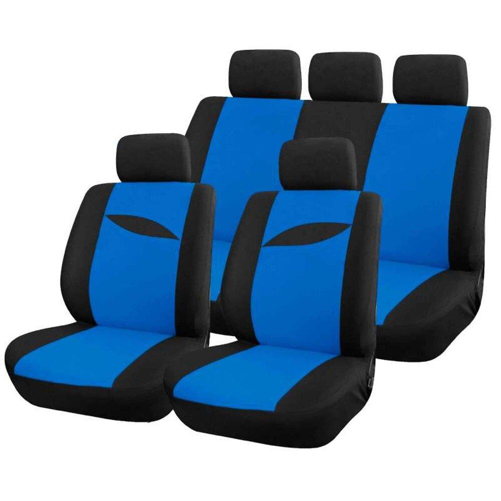 Housse Auto Bleue Universelle 9 Pcs