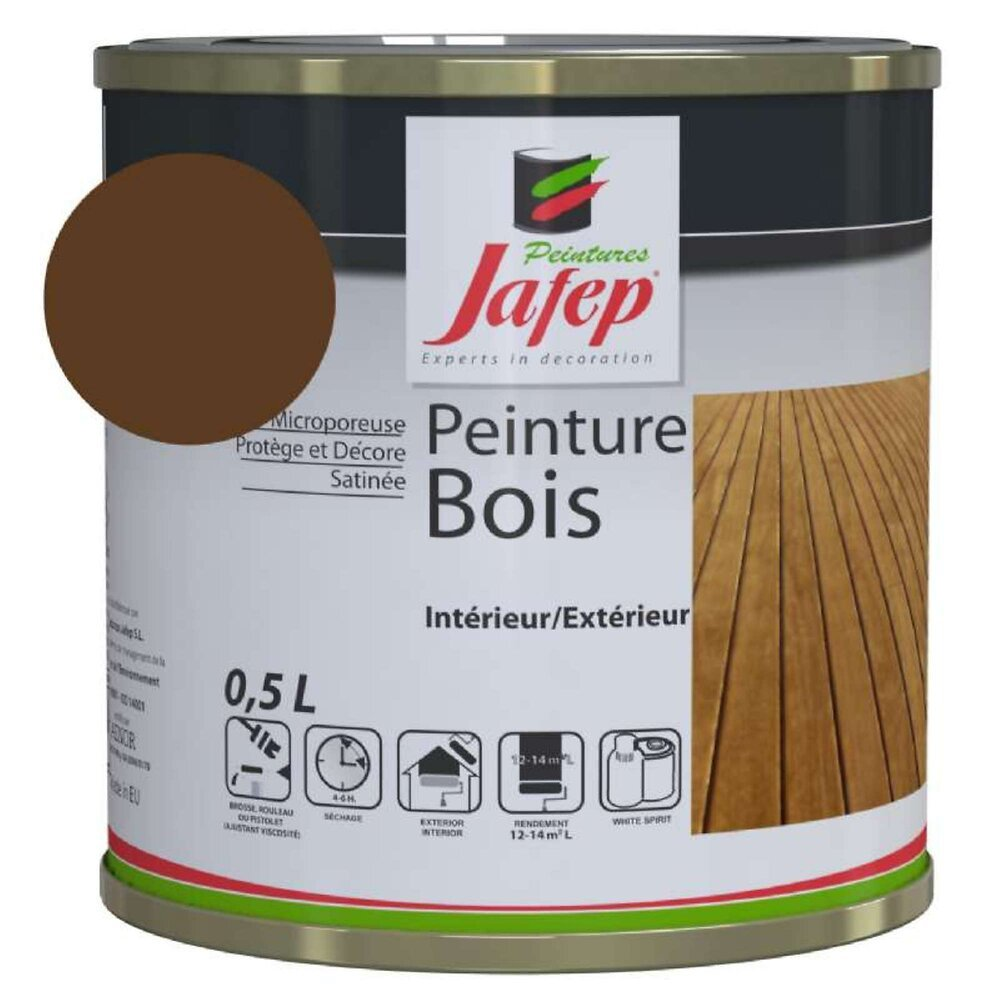 Peinture Bois Chocolat Jafep 0,5 L