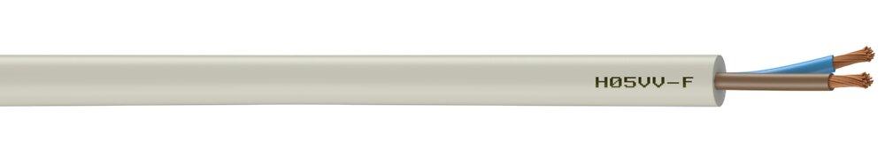 Câble électrique H05VVF blanc 2x1mm2/m.