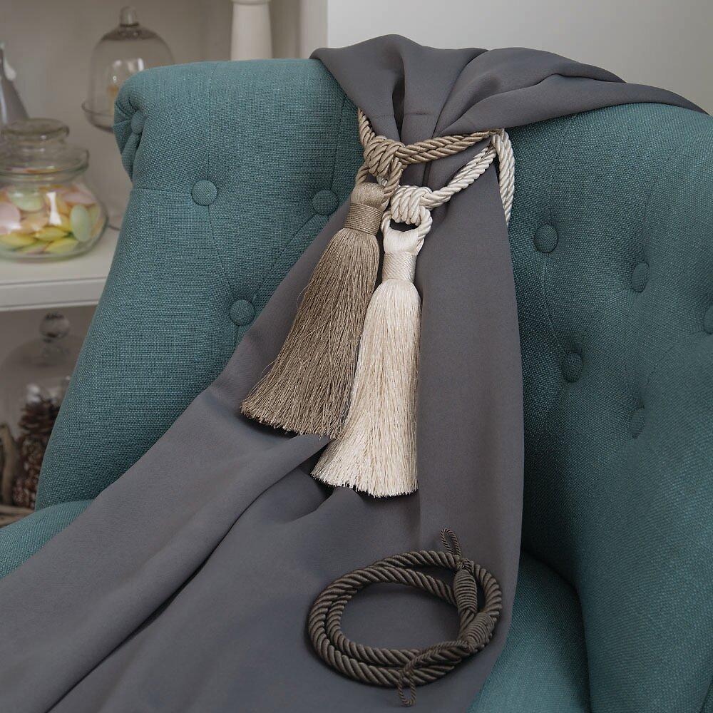 Embrasse à rideaux pompon Van Lathem gris perle