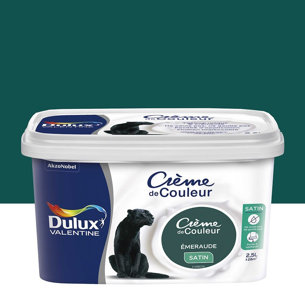 Peinture Crème de Couleur Satin Emeraude Pot 2.5L