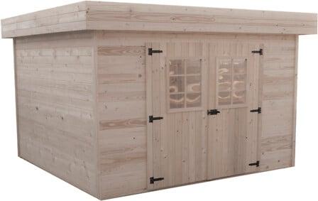 Abri madriers HABRITA bois massif toit plat / 28 mm surface: 7,97 m2