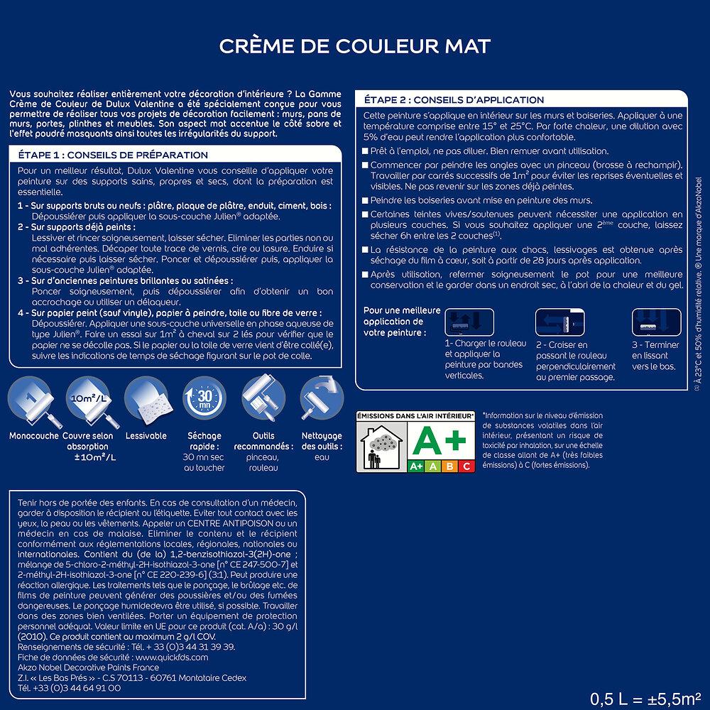 Peinture Crème de couleur MAT Bleu Paon 2.5L