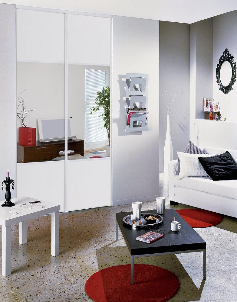 Kit de deux portes de placard miroir 250x120cm