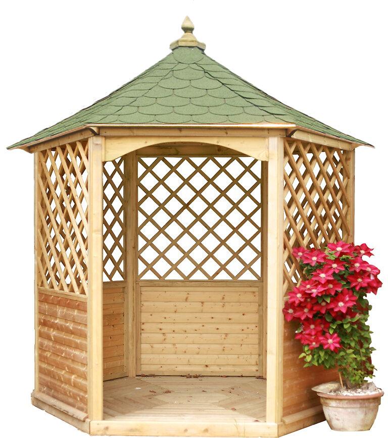 Pavillon hexagonal élégant HABRITA bois massif/ surface: 4,74 m2