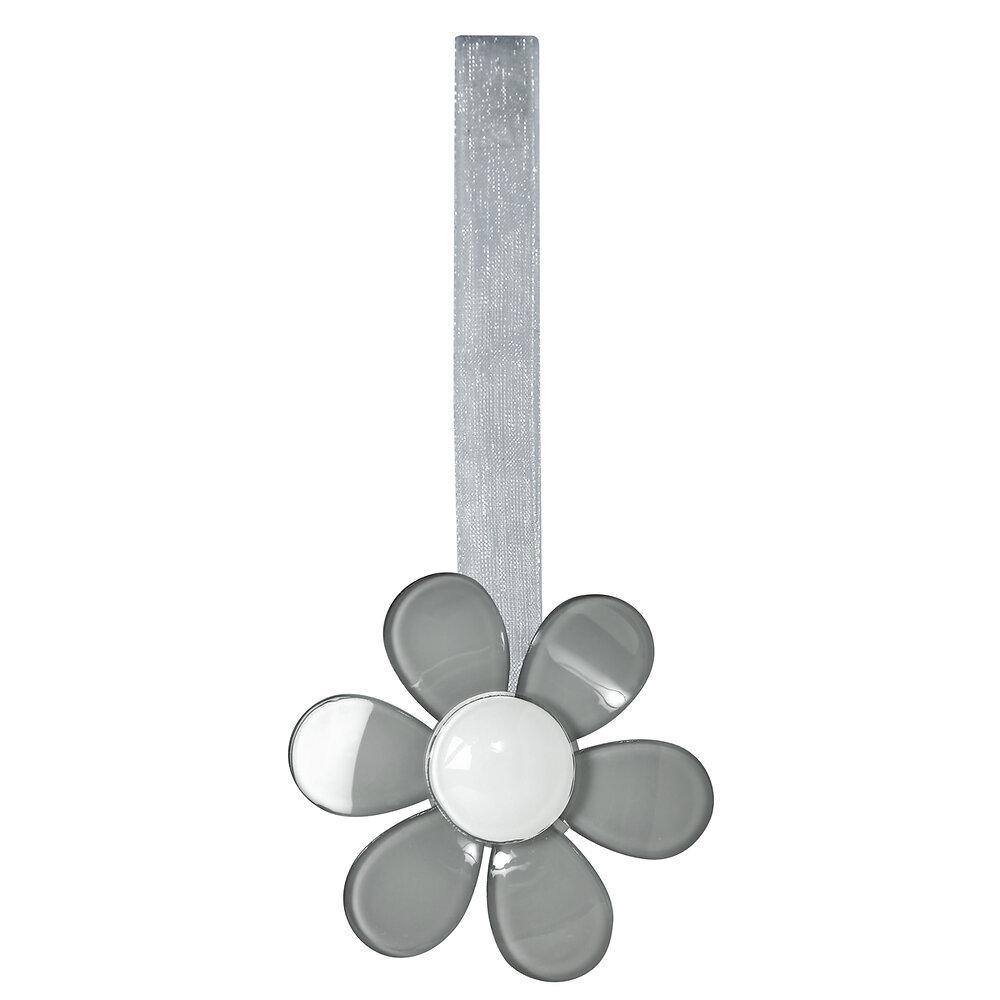 Embrasse à rideaux aimantée, Fleur gris