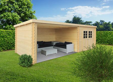 Abri de jardin 28 mm rohan 7,53 m2 utile avec partie terrasse 9,81m2.