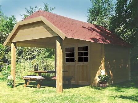 Abri de jardin en bois avec avancée 7,5 m² Cork